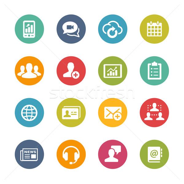 Business network technologii świeże kolory ikona przyciski Zdjęcia stock © Palsur