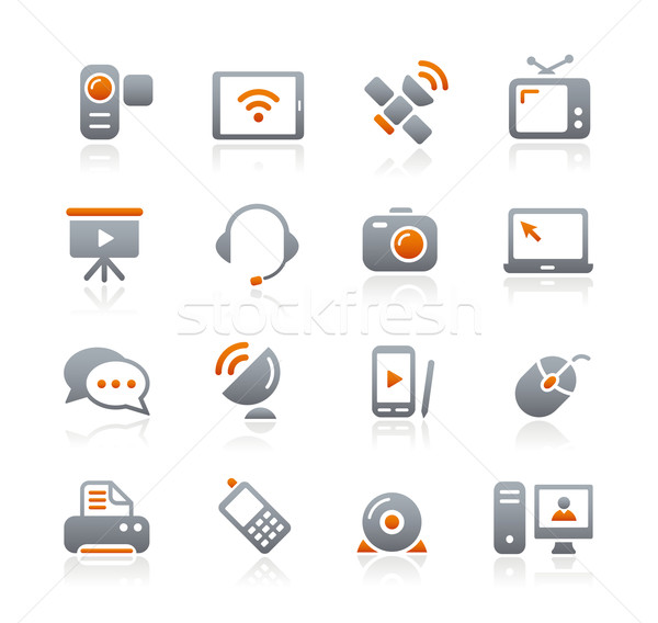 Communication Icons // Graphite Series Stock photo © Palsur
