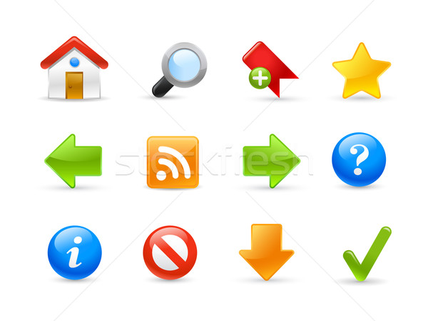 Website iconen gel glanzend web icons huis Stockfoto © Palsur