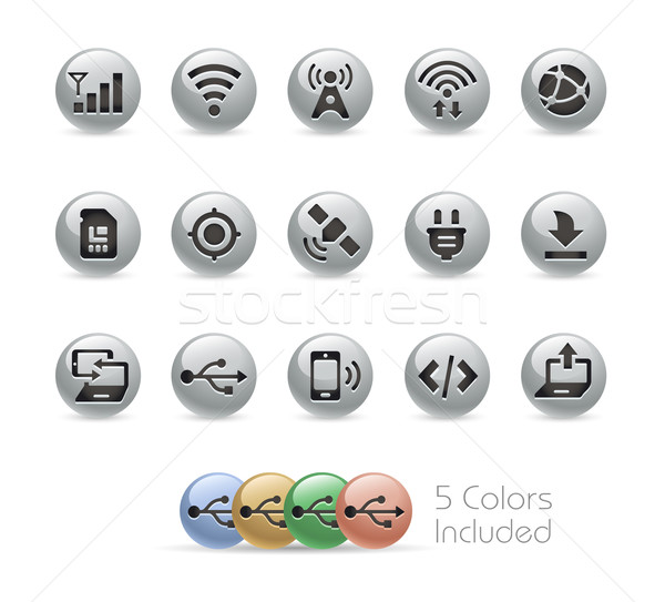 Web and Mobile Icons 6 -- Metal Round Series Stock photo © Palsur