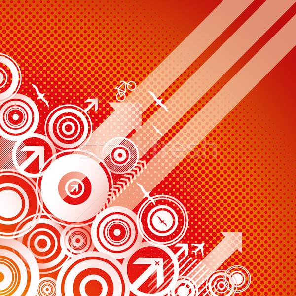 Vándorlás modern piros absztrakt narancs madár Stock fotó © Palsur