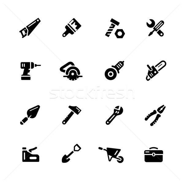 Tools Icons // Black Series Stock photo © Palsur