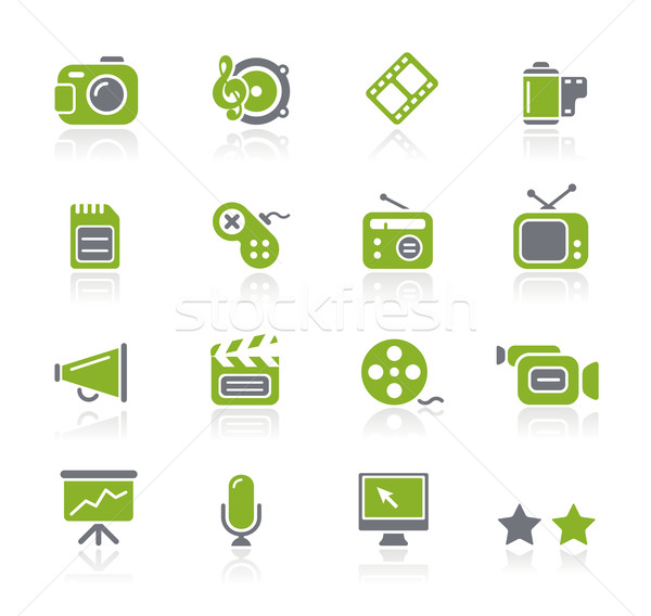 Foto stock: Multimedia · iconos · de · la · web · profesional · iconos · sitio · web · presentación
