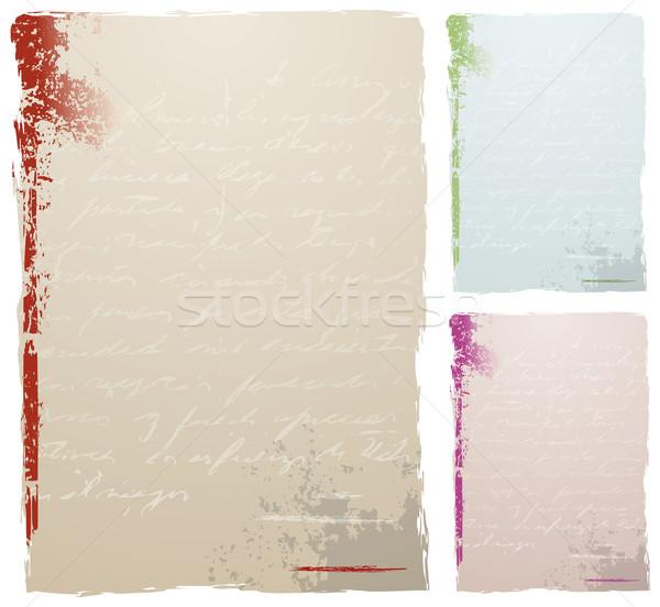 Antyczne list grunge tekst trzy kolor Zdjęcia stock © Palsur