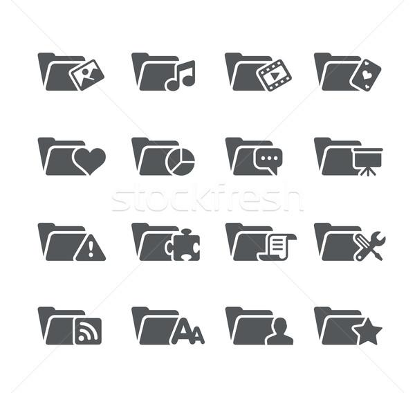 Folderze ikona użyteczność wektora cyfrowe wydruku Zdjęcia stock © Palsur