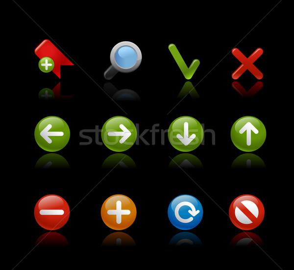 Háló navigáció gél fekete fényes vektor Stock fotó © Palsur
