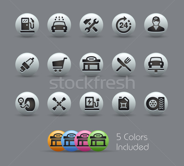 Gas Station Icons  -- Pearly Series Stock photo © Palsur