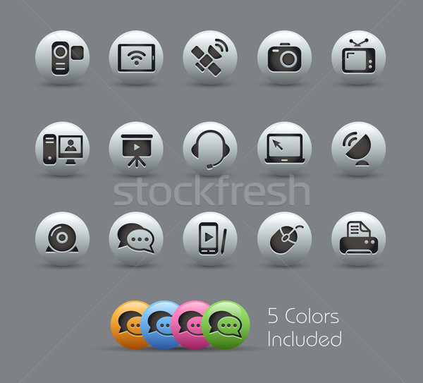 Communication Icons // Pearly Serie Stock photo © Palsur
