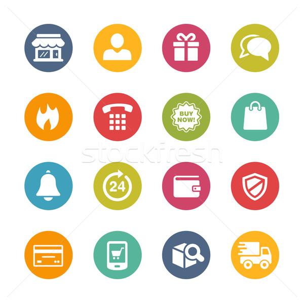 E-Shopping Icons -- Fresh Colors Series Stock photo © Palsur