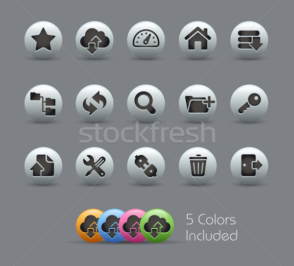 FTP & Hosting Icons // Pearly Serie Stock photo © Palsur