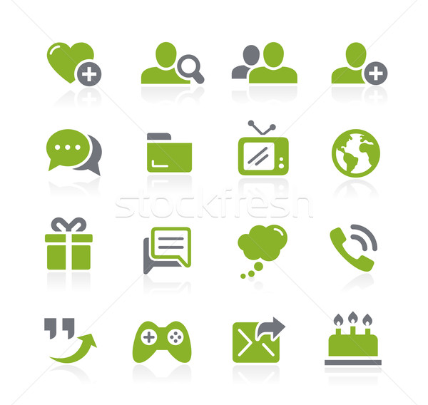 Social Communications Icons // Natura Series Stock photo © Palsur