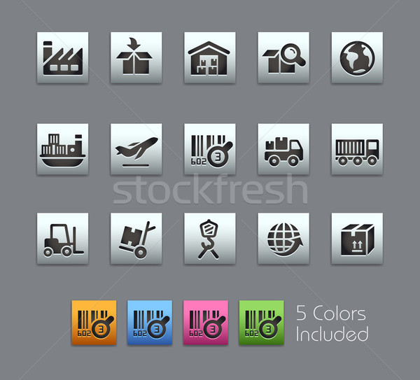 Stock photo: Industry and Logistics Icons -- Satinbox Series
