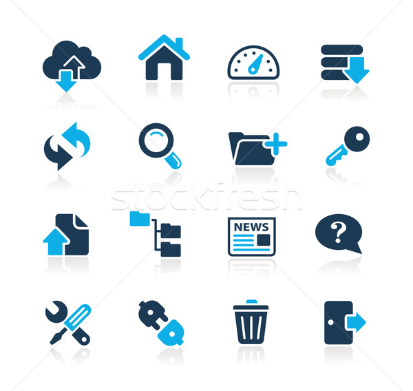Ftp hosting iconen azuur vector web Stockfoto © Palsur