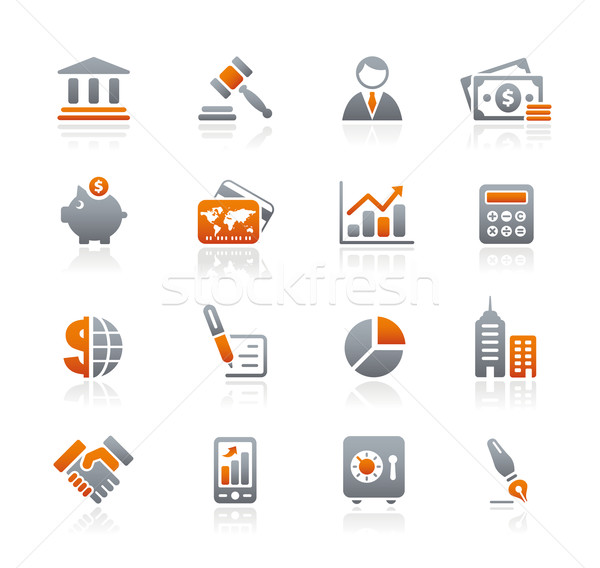 Business financieren iconen grafiet professionele website Stockfoto © Palsur