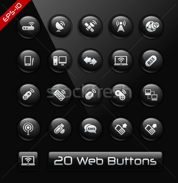 Drótnélküli távközlés ikonok fekete címke vektor Stock fotó © Palsur