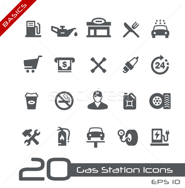 Benzin istasyonu simgeler temeller vektör web baskı Stok fotoğraf © Palsur