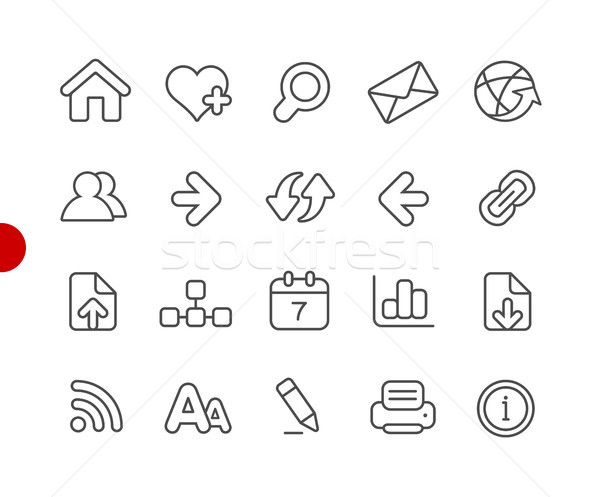 Web Navigation Icons // Red Point Series Stock photo © Palsur