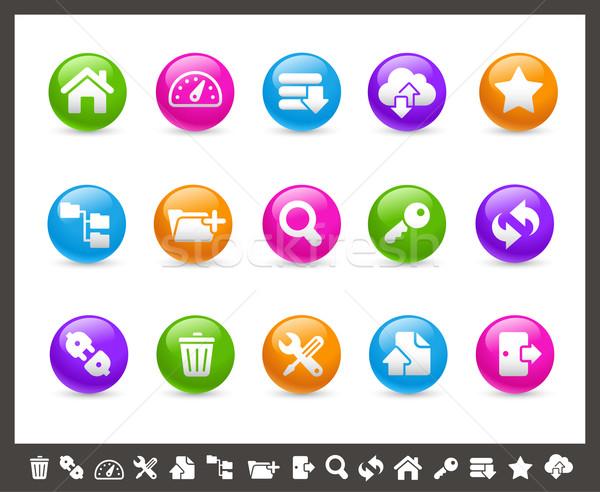Ftp хостинг иконки радуга вектора веб Сток-фото © Palsur