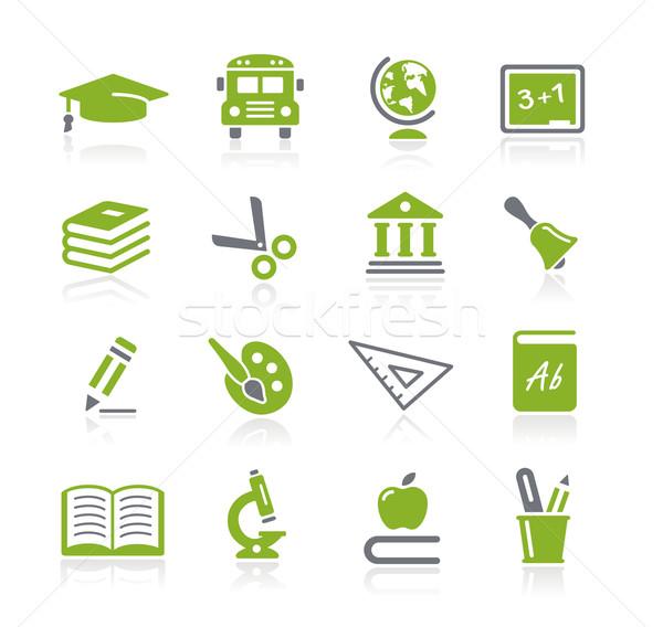 Foto stock: Escolas · educação · ícones · verde · vetor