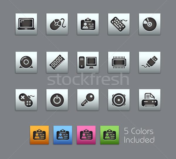 Stock fotó: Számítógép · eszközök · eps · akta · szín · különböző