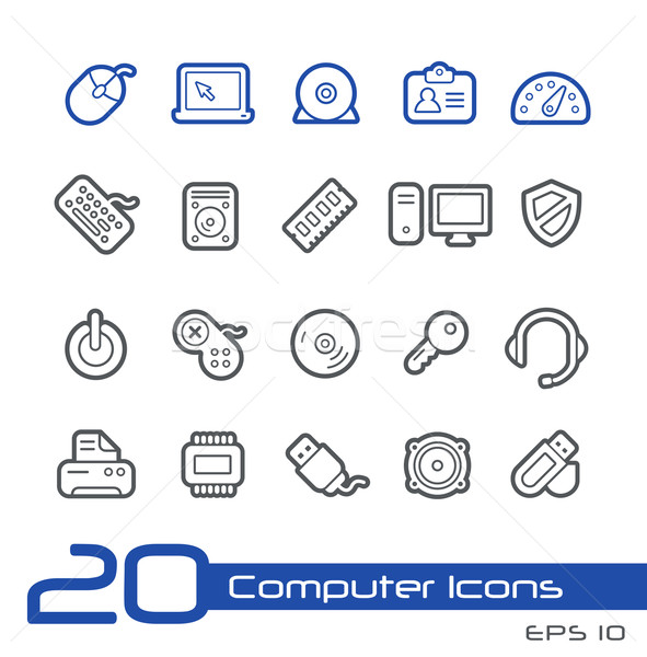 Computer Store Icons // Line Series Stock photo © Palsur