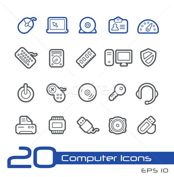 Számítógép bolt ikonok vonal vektor weboldal Stock fotó © Palsur