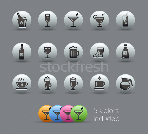 Drinks Icons // Pearly Series Stock photo © Palsur