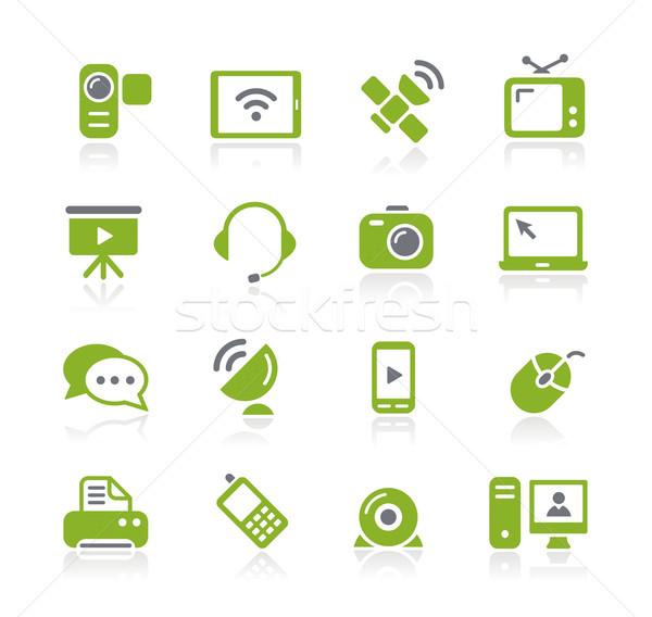 Foto stock: Comunicación · iconos · verde · vector · web