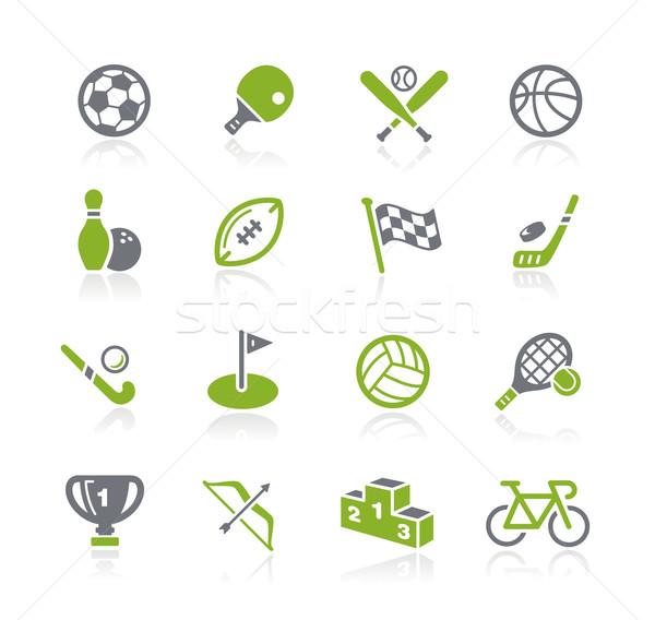 Sportok ikonok zöld vektor ikon gyűjtemény háló Stock fotó © Palsur