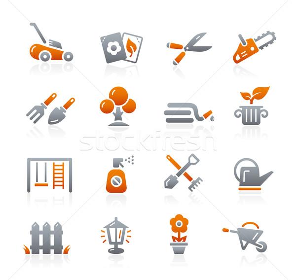 Tuinieren iconen grafiet vector digitale print Stockfoto © Palsur