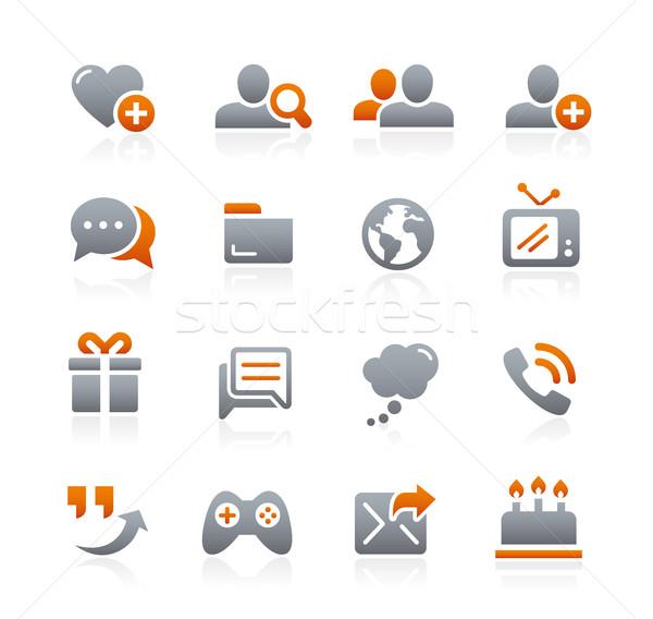Social comunicaciones iconos grafito vector digital Foto stock © Palsur