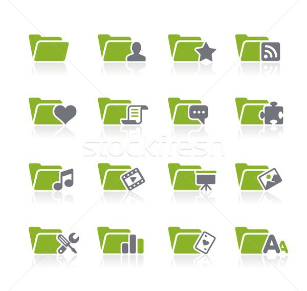 Folderze ikona zielone wektora internetowych Zdjęcia stock © Palsur
