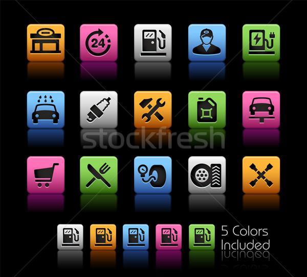 АЗС иконки вектора файла цвета икона Сток-фото © Palsur