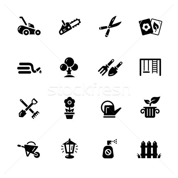 Gardening Icons // Black Series Stock photo © Palsur