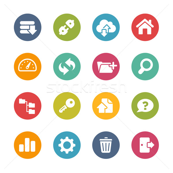 Stock photo: FTP and Hosting Icons -- Fresh Colors Series