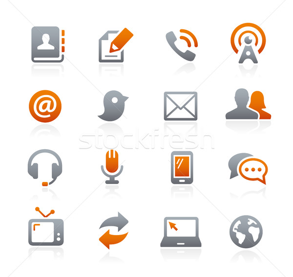 Telecommunicatie iconen grafiet vector digitale print Stockfoto © Palsur