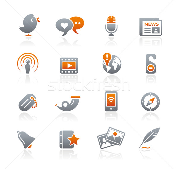 Social Media Web-Icons Graphit professionelle Symbole Website Stock foto © Palsur