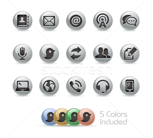 Communications Icons -- Metal Round Series Stock photo © Palsur