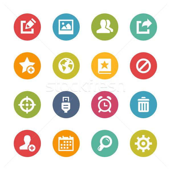 Internetowych komórkowych ikona świeże kolory przyciski Zdjęcia stock © Palsur