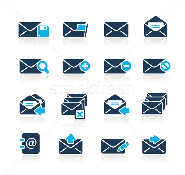 Email ikonok azúr vektor háló nyomtatás Stock fotó © Palsur