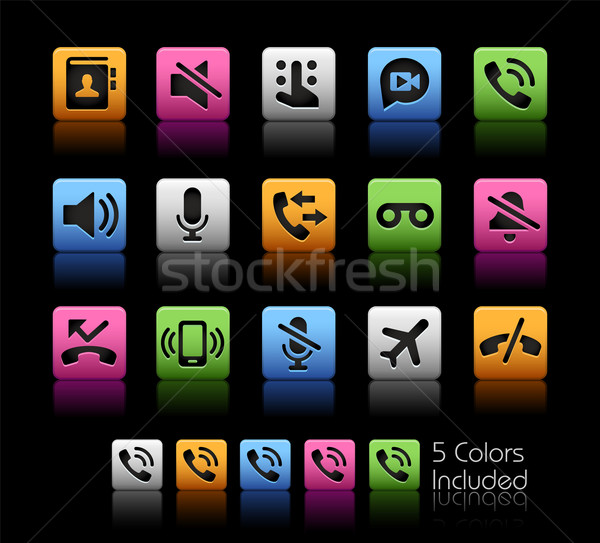 Phone Calls Interface Icons -- ColorBox Series Stock photo © Palsur
