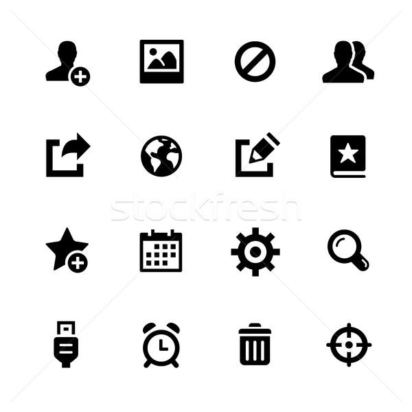 Iletişim simgeler siyah vektör simgeleri dijital baskı Stok fotoğraf © Palsur