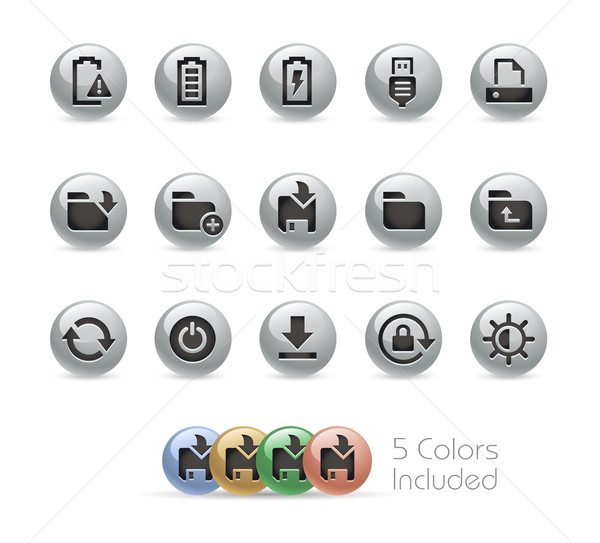 Web and Mobile Icons 3 -- Metal Round Series Stock photo © Palsur