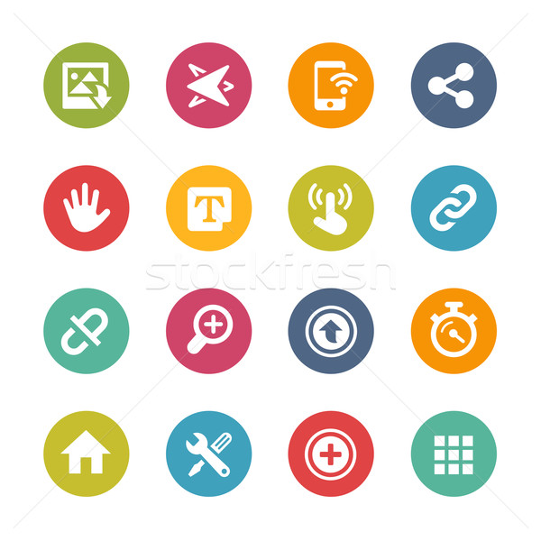 Web and Mobile Icons 10 -- Fresh Colors Series Stock photo © Palsur