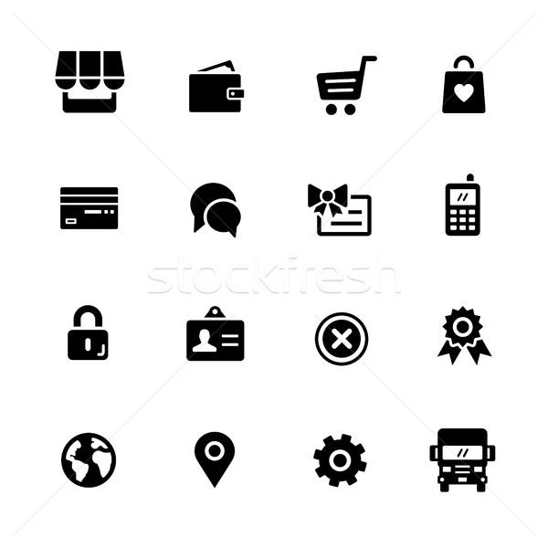 Sklep internetowy ikona czarny wektorowe ikony cyfrowe wydruku Zdjęcia stock © Palsur