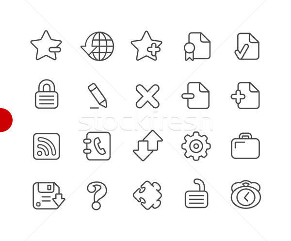 Foto stock: Iconos · de · la · web · rojo · punto · vector · línea · iconos
