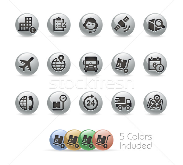 Shipping and Tracking Icons -- Metal Round Series Stock photo © Palsur