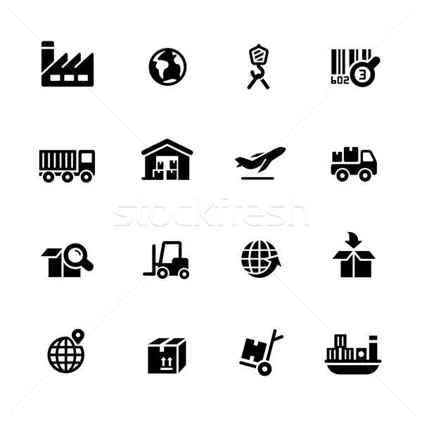 Industrie logistiek iconen zwarte vector iconen digitale Stockfoto © Palsur