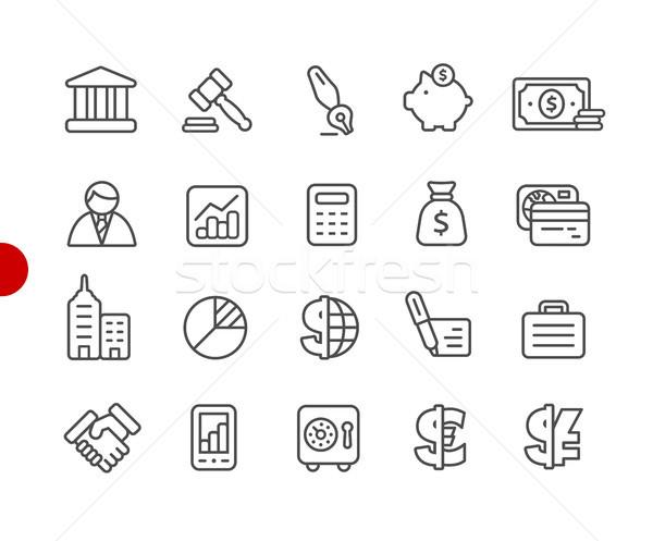 Foto stock: Negocios · financiar · iconos · rojo · punto · vector