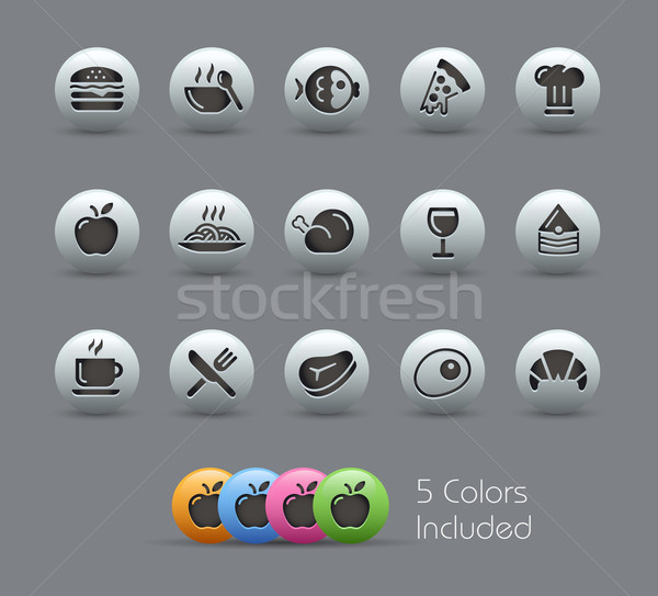 Food Icons - Set 1 of 2 // Pearly Serie Stock photo © Palsur